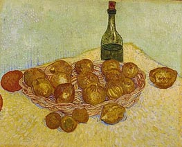 Still Life: Bottle, Lemons and Oranges, 1888 by Vincent van Gogh | Painting Reproduction