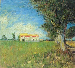 Farmhouse in a Wheat Field, 1888 von Vincent van Gogh | Gemälde-Reproduktion