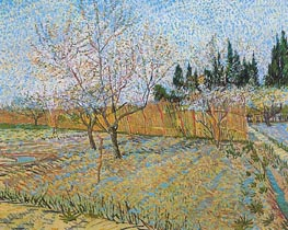 Orchard with Peach Tress in Blossom, April 1888 by Vincent van Gogh | Painting Reproduction
