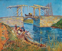 The Langlois Bridge at Arles with Women Washing, 1888 by Vincent van Gogh | Painting Reproduction