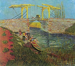 The Langlois Bridge at Arles, April 1888 by Vincent van Gogh | Painting Reproduction