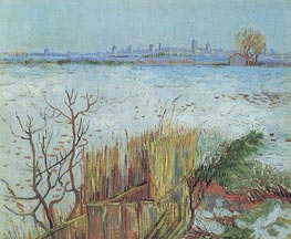 Snowy Landscape with Arles in the Background | Vincent van Gogh | Painting Reproduction