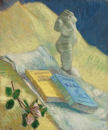 Plaster Statuette, a Rose and Two Novels | Vincent van Gogh | Painting Reproduction