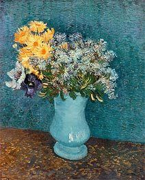 Vase with Lilacs, Daisies and Anemones | Vincent van Gogh | Painting Reproduction