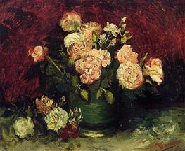 Bowl with Peonies and Roses, Autumn 188 by Vincent van Gogh | Painting Reproduction