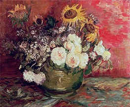 Bowl with Sunflowers, Roses and Other Flowers, 1886 by Vincent van Gogh | Painting Reproduction