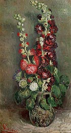Vase with Hollyhocks, 1886 by Vincent van Gogh | Painting Reproduction