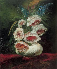 Vase with Peonies, 1886 by Vincent van Gogh | Painting Reproduction