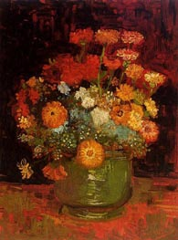 Vase with Zinnias, Summer 188 von Vincent van Gogh | Gemälde-Reproduktion