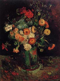 Vase with Zinnias and Geraniums, 1886 von Vincent van Gogh | Gemälde-Reproduktion