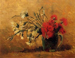 Vase with Red and White Carnations, 1886 by Vincent van Gogh | Painting Reproduction