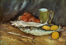 Still Life with Mackerels, Lemons and Tomatoes, Summer 188 von Vincent van Gogh | Gemälde-Reproduktion