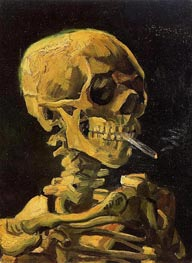 Skull with Burning Cigarette, 1886 von Vincent van Gogh | Gemälde-Reproduktion
