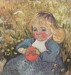 Child Sitting in the Grass with an Orange or a Ball, 1890 von Vincent van Gogh | Gemälde-Reproduktion