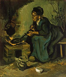 Peasant Woman Cooking by a Fireplace | Vincent van Gogh | Painting Reproduction