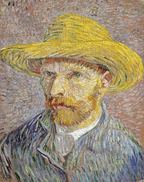 Self Portrait with a Straw Hat, c.1887 by Vincent van Gogh | Painting Reproduction