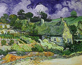 Thatched Cottages at Cordeville, 1890 by Vincent van Gogh | Painting Reproduction