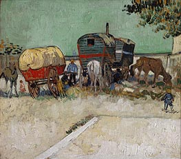 Encampment of Gypsies with Caravans, 1888  by Vincent van Gogh | Painting Reproduction