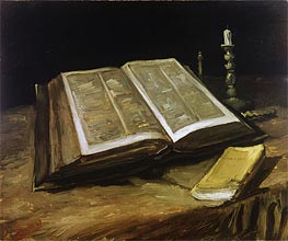 Still Life with Bible, 1885 von Vincent van Gogh | Gemälde-Reproduktion