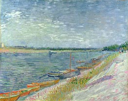 View of a River with Rowing Boats, 1887 by Vincent van Gogh | Painting Reproduction