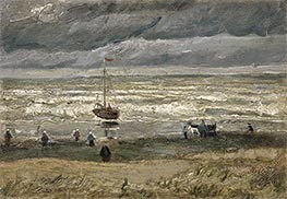 Scheveningen Beach in Stormy Weather, 1882 by Vincent van Gogh | Painting Reproduction