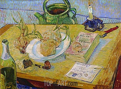 Still Life with a Plate of Onions, 1889 | Vincent van Gogh | Painting Reproduction