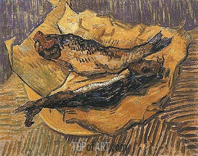 Still Life: Bloaters on a Piece of Yellow Paper, 1889 | Vincent van Gogh | Painting Reproduction