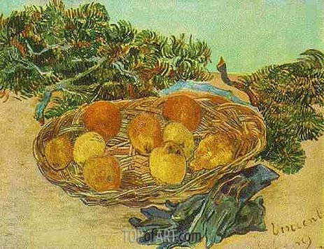 Still Life with Oranges, Lemons and Blue Gloves, 1889 | Vincent van Gogh | Painting Reproduction