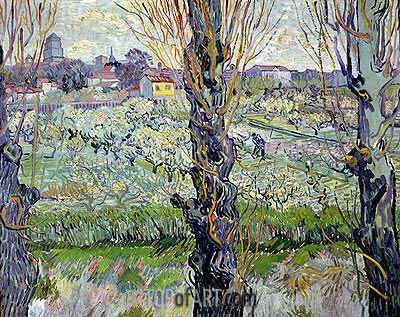 Orchard in Bloom with View of Arles, 1889 | Vincent van Gogh | Painting Reproduction