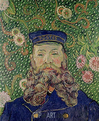 Portrait of the Postman Joseph Roulin, 1889 | Vincent van Gogh | Painting Reproduction