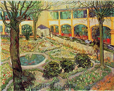 The Courtyard of the Hospital at Arles, 1889 | Vincent van Gogh | Painting Reproduction