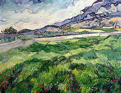 Green Wheat Field, 1889 | Vincent van Gogh | Painting Reproduction