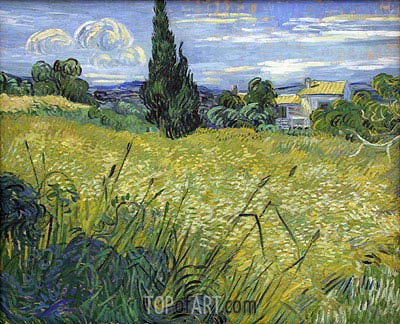 Green Wheat Field with Cypress, 1889 | Vincent van Gogh | Gemälde Reproduktion