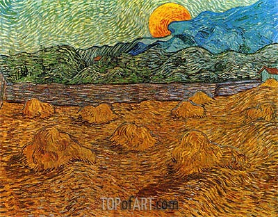 Landscape with Wheat Sheaves and Rising Moon, 1889 | Vincent van Gogh | Gemälde Reproduktion