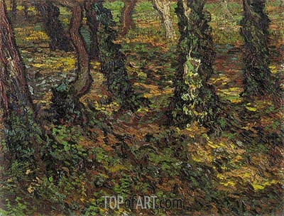 Tree Trunks with Ivy, 1889 | Vincent van Gogh | Painting Reproduction