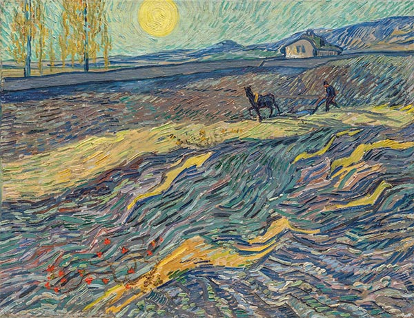 Enclosed Field with Ploughman, Late Augus | Vincent van Gogh | Painting Reproduction