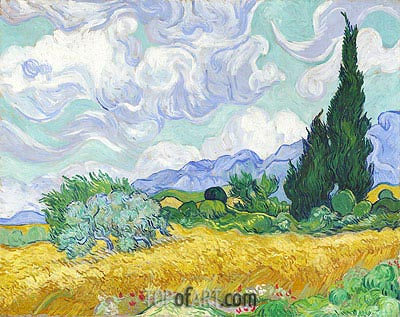 Wheatfield with Cypresses, 1889 | Vincent van Gogh | Painting Reproduction