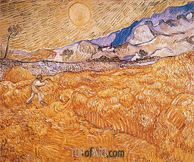 Wheat Field Behind Saint-Paul Hospital with Reaper, September | Vincent van Gogh | Painting Reproduction