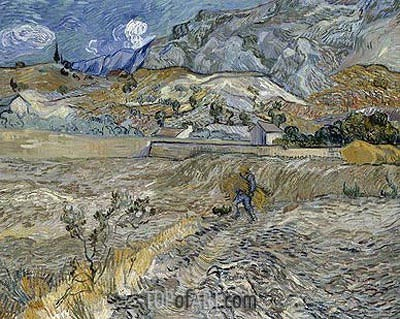 Enclosed Wheat Field with Peasant, 1889 | Vincent van Gogh | Painting Reproduction