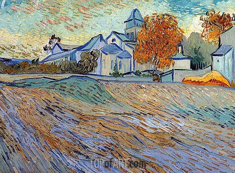 View of the Church of Saint-Paul-de-Mausole, 1889 | Vincent van Gogh | Gemälde Reproduktion
