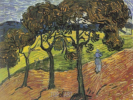 Landscape with Trees and Figures, 1889 | Vincent van Gogh | Painting Reproduction