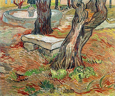 The Stone Bench in Garden of Saint-Paul Hospital, 1889 | Vincent van Gogh | Gemälde Reproduktion