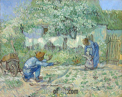 First Steps (after Millet), 1890 | Vincent van Gogh | Painting Reproduction
