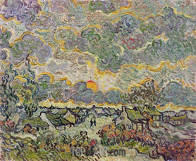 Cottages and Cypresses - Reminiscence of the North, 1890 | Vincent van Gogh | Painting Reproduction