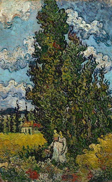 Cypresses and Two Woman, 1890 | Vincent van Gogh | Painting Reproduction