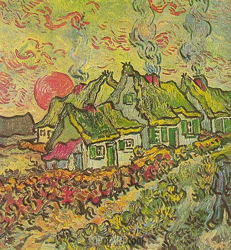 Cottages - Reminiscence of the North, March-Apri | Vincent van Gogh | Painting Reproduction