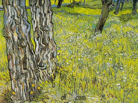 Pine Trees and Dandelions in the Garden, April-May | Vincent van Gogh | Gemälde Reproduktion