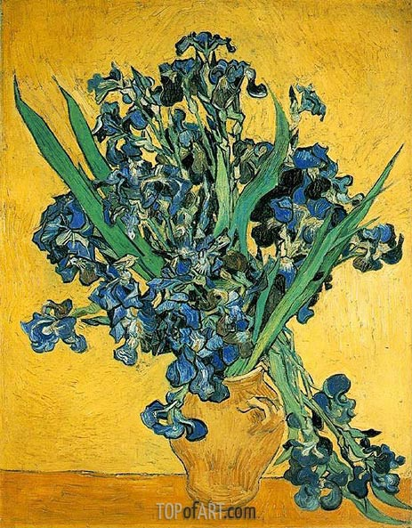 Vase with Irises Against a Yellow Background, 1890 | Vincent van Gogh | Painting Reproduction