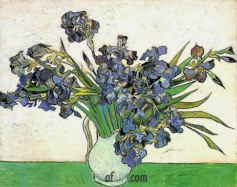 Still Life - Vase with Irises, 1890 | Vincent van Gogh | Painting Reproduction