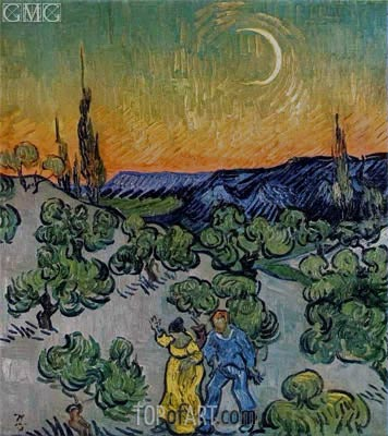 Landscape with Couple Walking and Crescent Moon, May 1890 | Vincent van Gogh | Gemälde Reproduktion